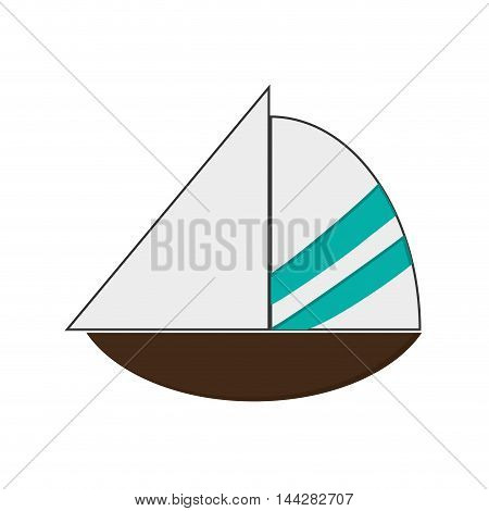 flat design simple sailboat icon vector illustration