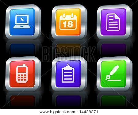 Equipment Icons on Square Button Collection with Metallic Rim Original Illustration