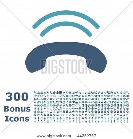 Phone Ring icon with 300 bonus icons. Vector illustration style is flat iconic bicolor symbols, cyan and blue colors, white background.