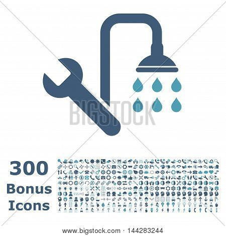 Plumbing icon with 300 bonus icons. Vector illustration style is flat iconic bicolor symbols, cyan and blue colors, white background.