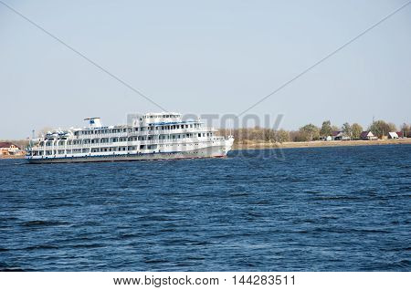River Boat. Boat On The Blue Lake With Cloudy Sky, Nature Series
