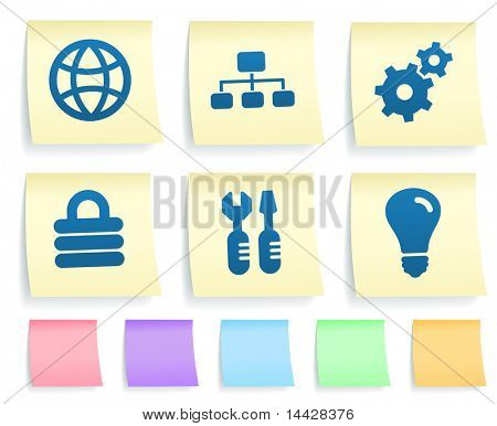 Internet Icons on Post It Note Paper Collection Original Illustration