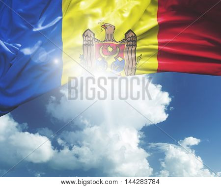 Moldova flag on a beautiful day