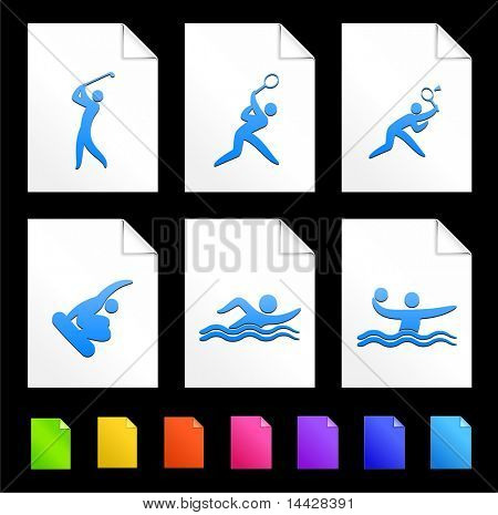 Sport Icons on Colorful Paper Document Collection Original Illustration