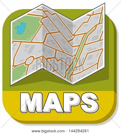 A vector illustration of map booklet on green background