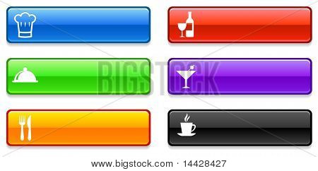 Restaurant Icons on Long Button Collection Original Illustration