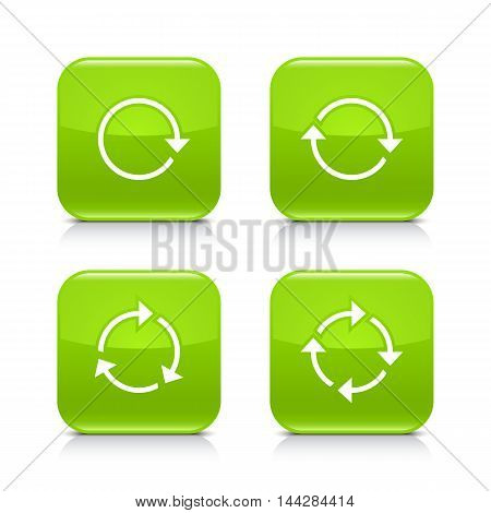 4 arrow icon. White rotation, repeat, refresh, reload sign. Set 01. Green rounded square button with gray reflection, black shadow on white background. Vector illustration web design element in 8 eps