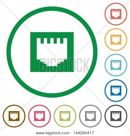 Set of ethernet connector color round outlined flat icons on white background