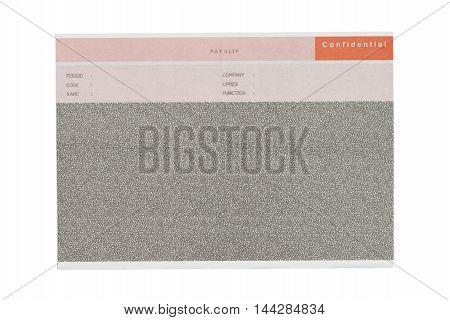 carbon salary slip isolated on white background.