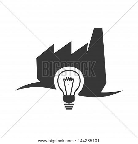 light bulb factory industry ecology silhouette icon. Flat and Isolated design. Vector illustration