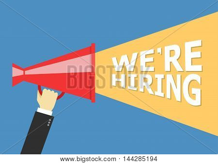 Hand holding megaphone with bubble speech hiring template.