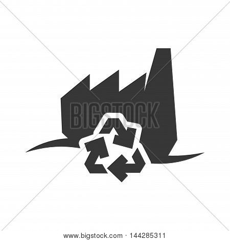 recycle factory industry ecology silhouette icon. Flat and Isolated design. Vector illustration