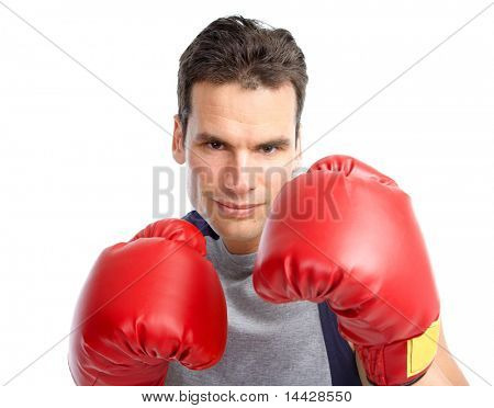 Smiling young boxer  man. Isolated over white background