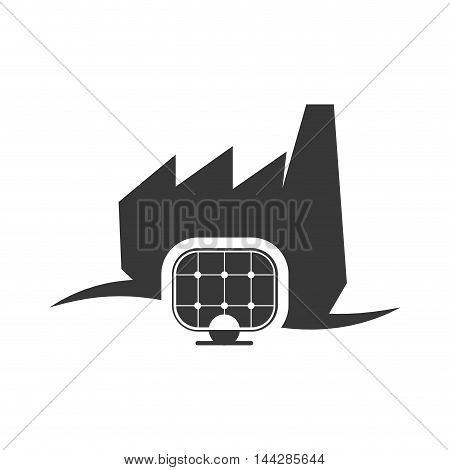 solar panel factory industry ecology silhouette icon. Flat and Isolated design. Vector illustration