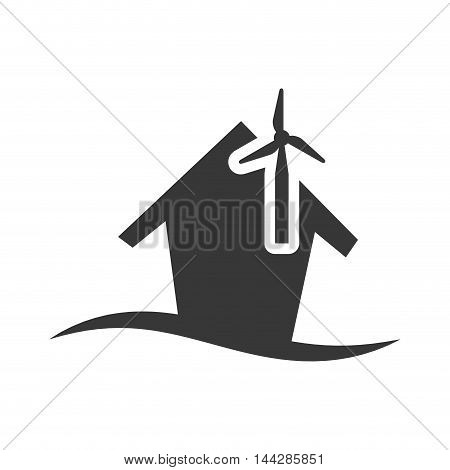 windmill house home ecology silhouette icon. Flat and Isolated design. Vector illustration
