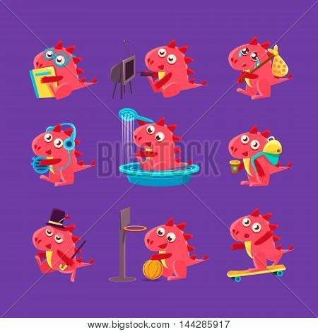 Red Dragon Everyday Activities. Set Of Silly Childish Drawings Isolated On Dark Background. Funny Fantastic Animal Colorful Vector Stickers Set.