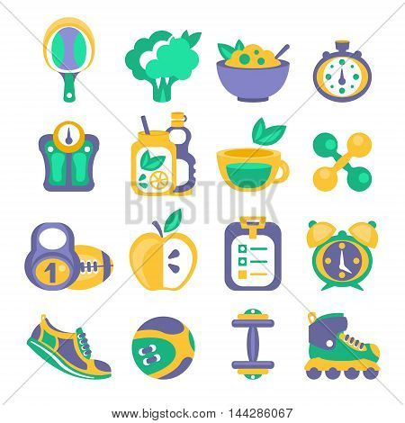Healthy Diet And Fitness Related Objects. Set Of Simplified Flat Cartoon Style Vector Icons Isolated On White Background