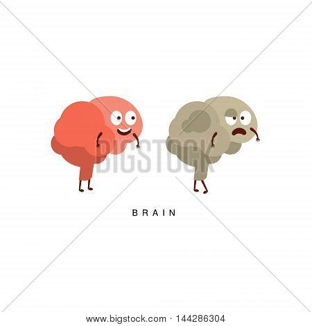 Healthy vs Unhealthy Brain Infographic Illustration.Humanized Human Organs Childish Cartoon Characters On White Background