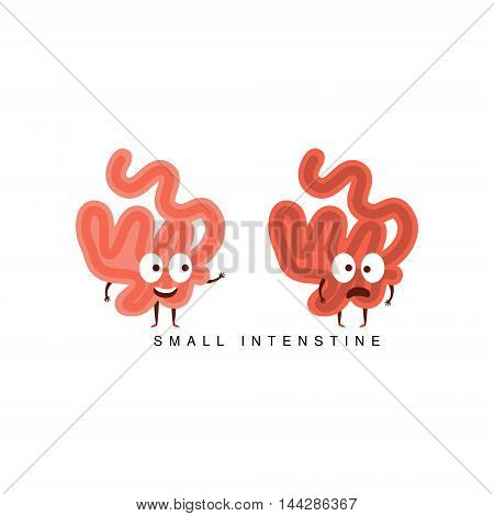 Healthy vs Unhealthy Small Intestine Infographic Illustration.Humanized Human Organs Childish Cartoon Characters On White Background