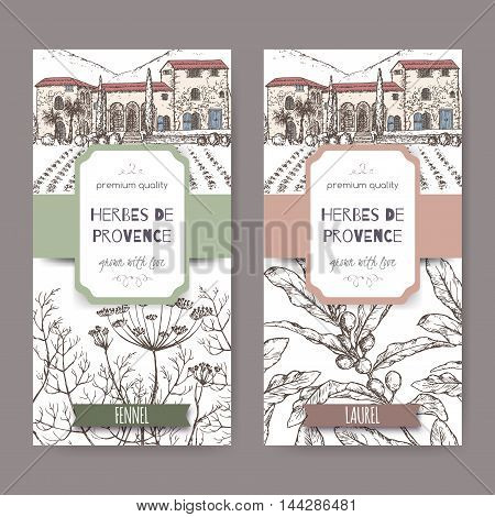 Two Herbes de Provence labels with Provence cottage landscape, fennel and laurel sketch. Culinary herbs collection. Great for cooking, medical, gardening design.