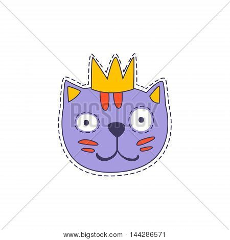 Cat in A Crown Bright Hipster Sticker With Outlined Border In Childish Style