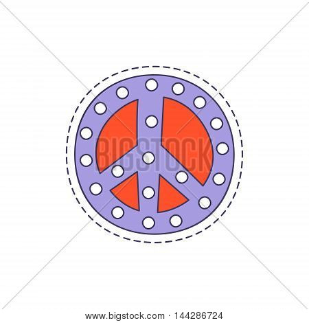Peace Symbol Bright Hipster Sticker With Outlined Border In Childish Style