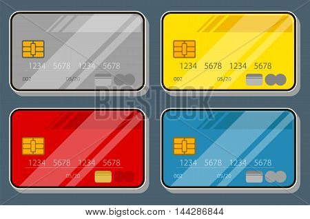 A vector illustration set of color bank credit card design