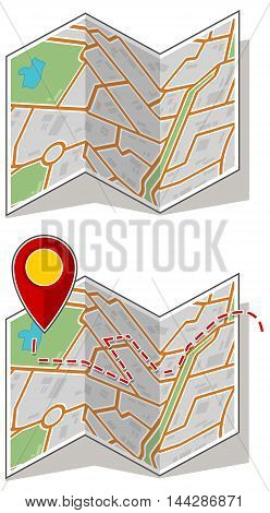 A vector illustration set of map booklet with way point