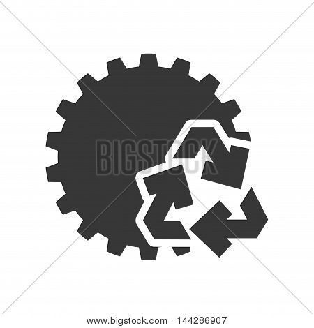 gear recycle ecology silhouette icon. Flat and Isolated design. Vector illustration