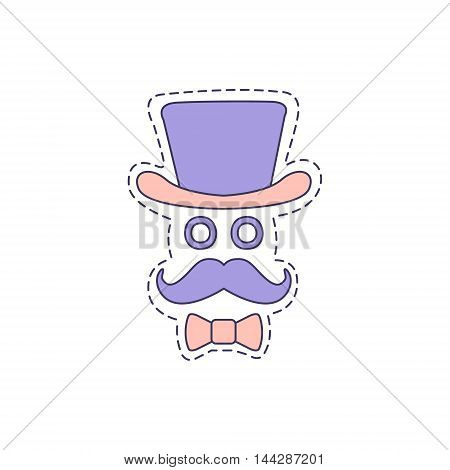 Gentleman With Moustache And Top Hat Bright Hipster Sticker With Outlined Border In Childish Style