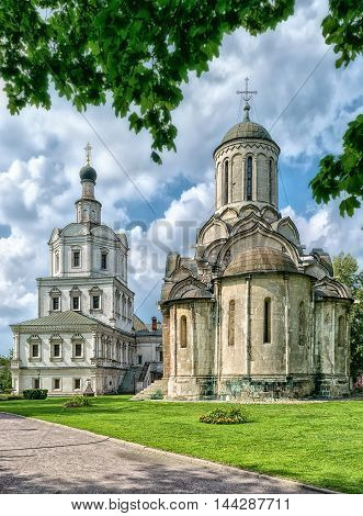 Spassky Cathedral and Church of Michael the Archangel in Andronikov monastery in Moscow Russia.