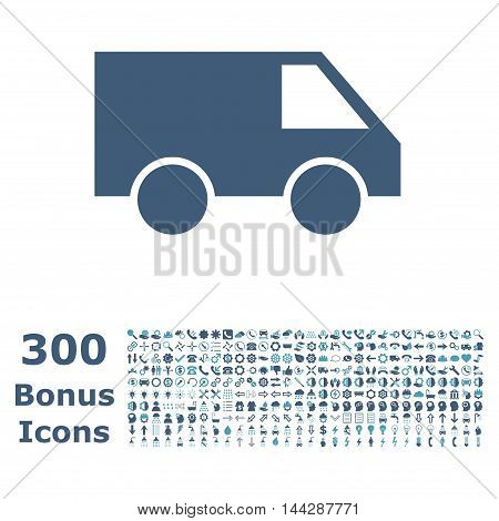 Van icon with 300 bonus icons. Vector illustration style is flat iconic bicolor symbols, cyan and blue colors, white background.