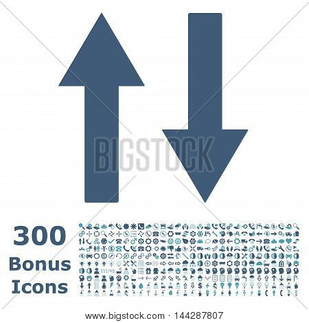 Vertical Flip Arrows icon with 300 bonus icons. Vector illustration style is flat iconic bicolor symbols, cyan and blue colors, white background.