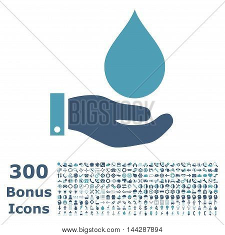 Water Service icon with 300 bonus icons. Vector illustration style is flat iconic bicolor symbols, cyan and blue colors, white background.