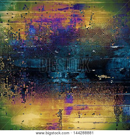 Ancient textured background or shabby backdrop. With different color patterns: green; blue; red (orange); purple (violet); yellow (beige); black