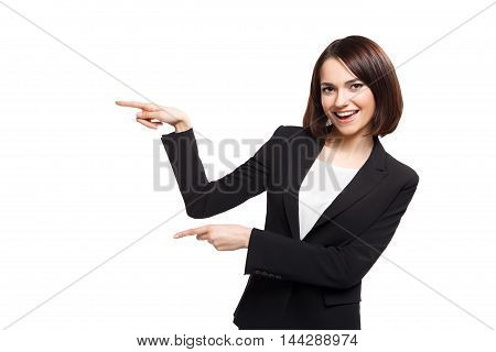 Smile business woman show fingers, isolated on white background with clippinf path.