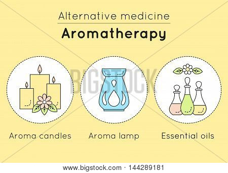 Vector Set Of Aromatherapy Linear Icons. Aroma Candles, Aroma Lamp, Essential Oils As Tools Of Alter