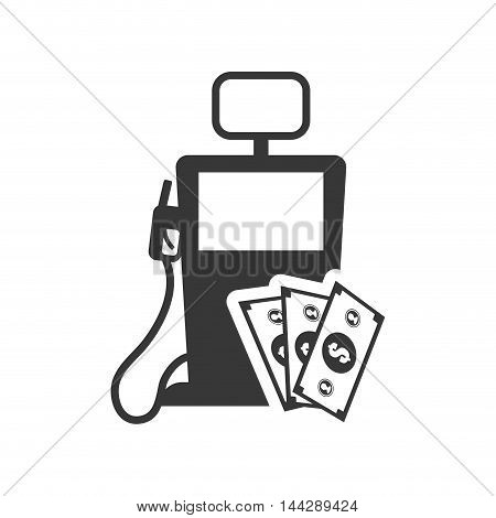 bills dispenser petroleum gasoline oil industry silhouette icon. Flat and Isolated design. Vector illustration