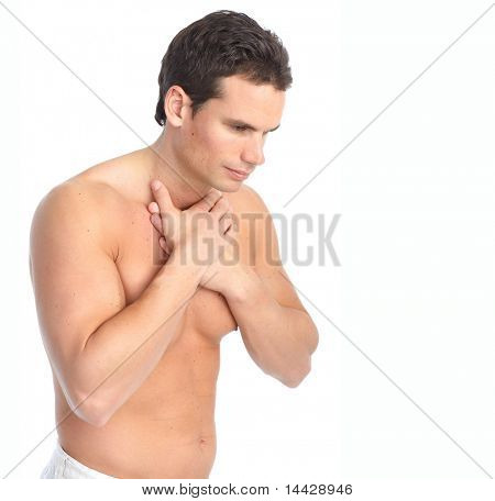 Sick young man. Throat pain. Over white background