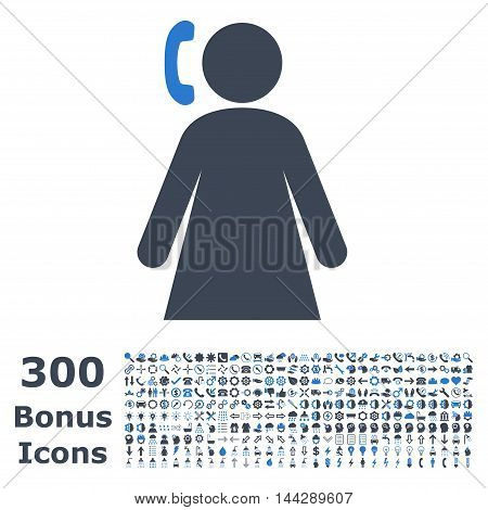 Calling Woman icon with 300 bonus icons. Vector illustration style is flat iconic bicolor symbols, smooth blue colors, white background.