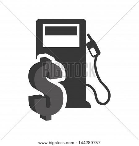 dispenser money petroleum gasoline oil industry silhouette icon. Flat and Isolated design. Vector illustration