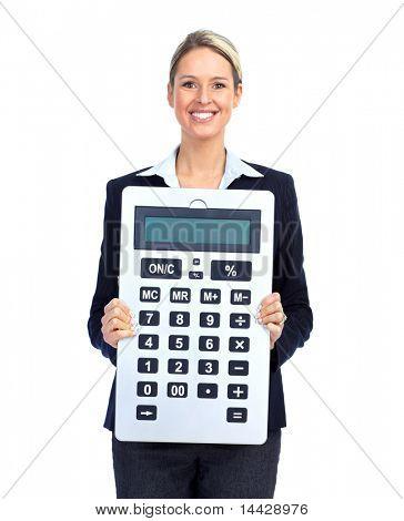 Mujer de negocios de contador con una gran calculadora.  Sobre fondo blanco