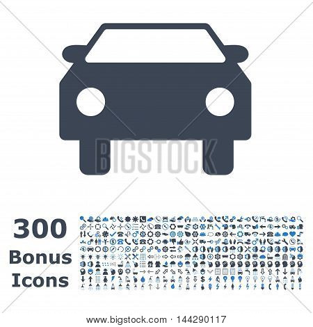 Car icon with 300 bonus icons. Vector illustration style is flat iconic bicolor symbols, smooth blue colors, white background.