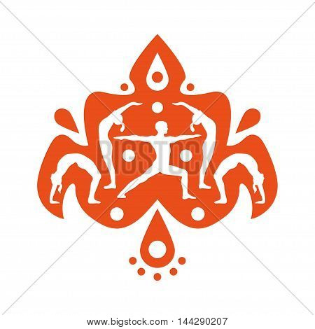 Vector yoga illustration with people silhouettes. Yoga design element with ethnic indian motive for poster or logo.