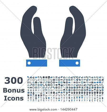 Care Hands icon with 300 bonus icons. Vector illustration style is flat iconic bicolor symbols, smooth blue colors, white background.
