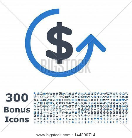 Chargeback icon with 300 bonus icons. Vector illustration style is flat iconic bicolor symbols, smooth blue colors, white background.