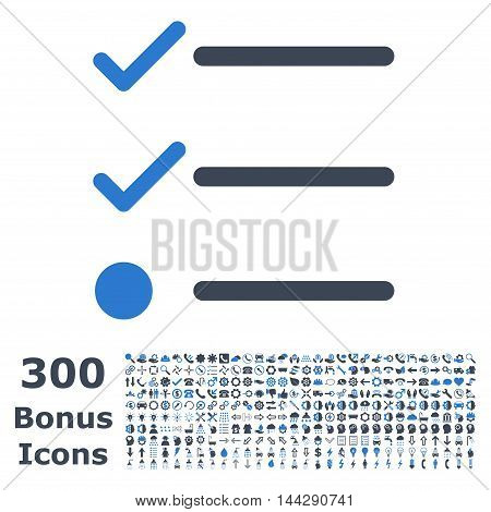 Checklist icon with 300 bonus icons. Vector illustration style is flat iconic bicolor symbols, smooth blue colors, white background.