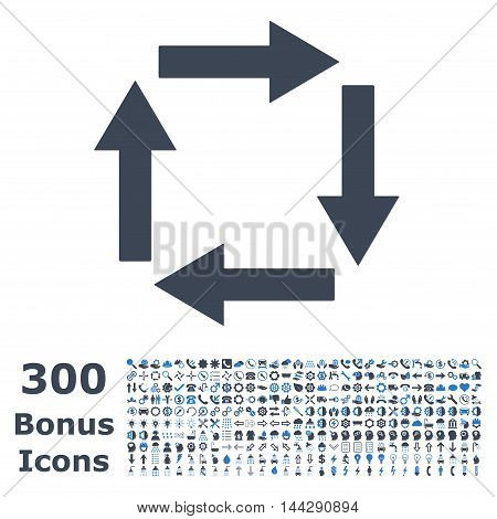 Circulation Arrows icon with 300 bonus icons. Vector illustration style is flat iconic bicolor symbols, smooth blue colors, white background.