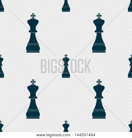 Chess King Sign. Seamless Pattern With Geometric Texture. Vector