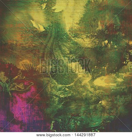 Old style decorative composition or designed vintage template with textured grunge elements and different color patterns: gray; green; purple (violet); yellow (beige); brown; pink